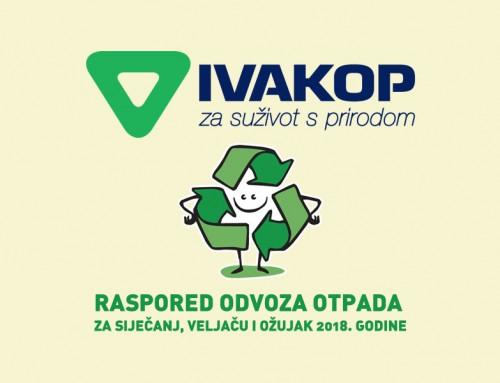 Dostava rasporeda o odvozu otpada za siječanj, veljaču i ožujak 2018.g.